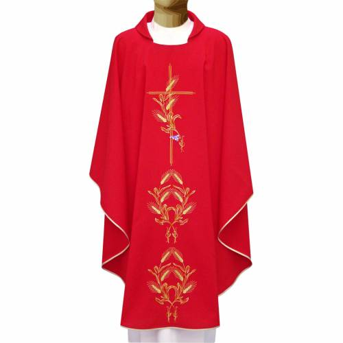 Chasuble in polyester with gold cross and wheat s1