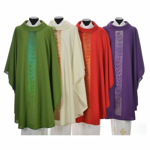 Chasuble in polyester with olive branch embroidery on orphrey s1