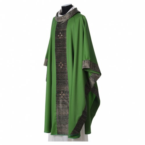 Chasuble in wool with orphrey in silk and sardonyx agate stones s4