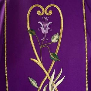Chasuble liturgique 100% laine, roses et rameaux s3