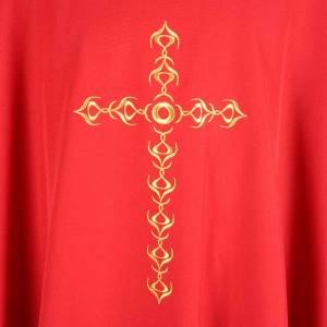 Chasuble liturgique avec croix dorée brodée s3