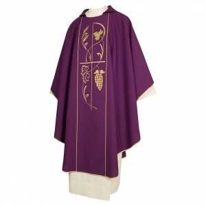 Chasubles: Chasuble prêtre 100% polyester épis raisin couleur marc de raisin