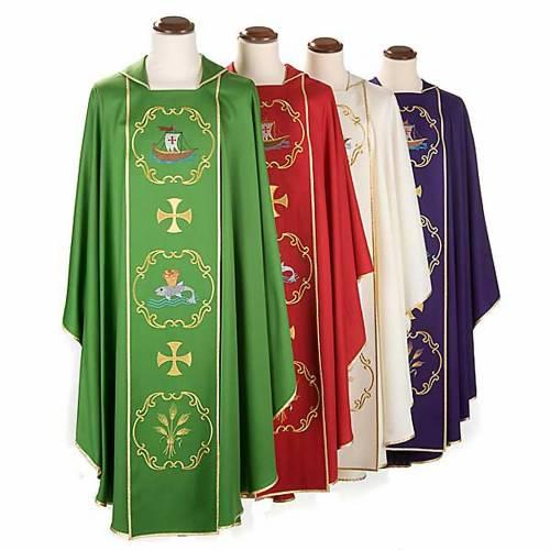 Chasuble sacerdotale 100% laine, bateau, poisson et calice s1
