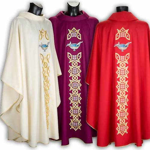 Chasuble with stole, doves s1