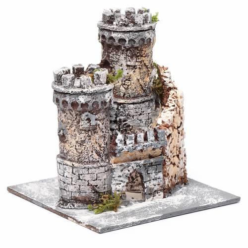 Château crèche Naples en résine et liège 17x15x15 cm s3