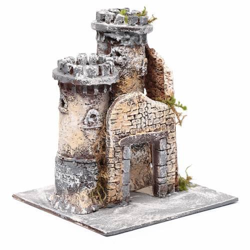 Château en résine et liège crèche napolitaine 21x19x17 cm s3