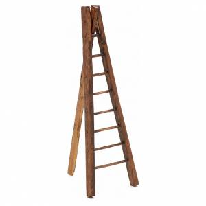Échelle trois pieds en bois crèche h 15 cm s1