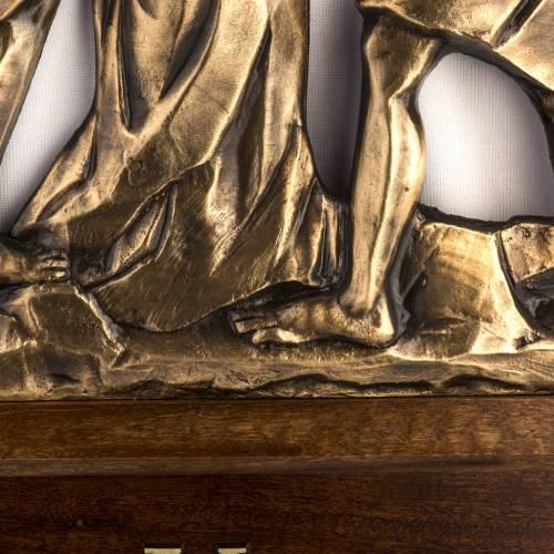 Chemin de Croix laiton fondu 30x50 cm avec chapiteau 15 s4