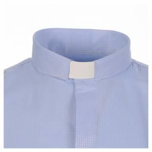 Chemises Clergyman: Chemise clergy jacquard céleste manches longues