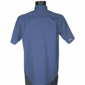 Chemises Clergyman: STOCK Chemise clergy m.courte fil à fil bleu