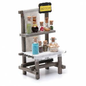 Settings, houses, workshops, wells: Chemist's counter with crystal jars for nativity scene15x10x5 cm