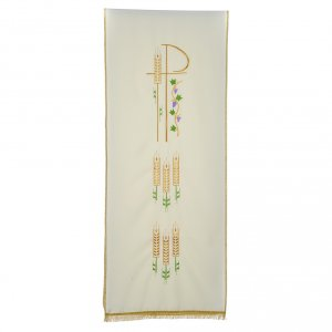 Chi Rho, ears of wheat pulpit cover with fringe s3