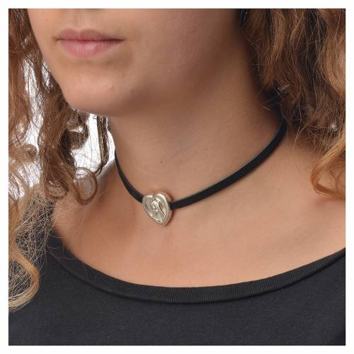 Choker necklace in black leather with Virgin Mary pendant s3