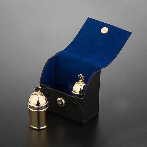 Chrismatory set: 2 holy oil containers case blue inside s2