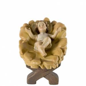 Krippe aus Grödnertal Holz: Christkind mit Wiege 12cm Holz, Krippe Valgardena