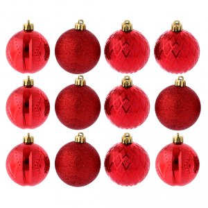 Christmas tree ornaments in wood and pvc: Christmas bauble 60 mm red