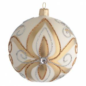 Christmas Bauble gold silver & ivory color 10cm s1