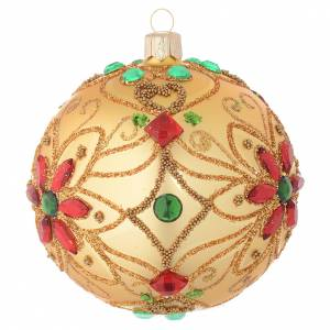 Christmas bauble in blown glass with floral gold and red decoration 100mm s2
