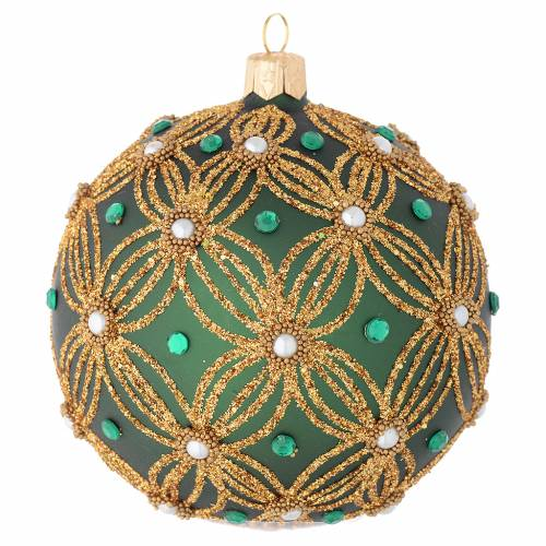 Christmas bauble in green blown glass with gold decoration 100mm s2