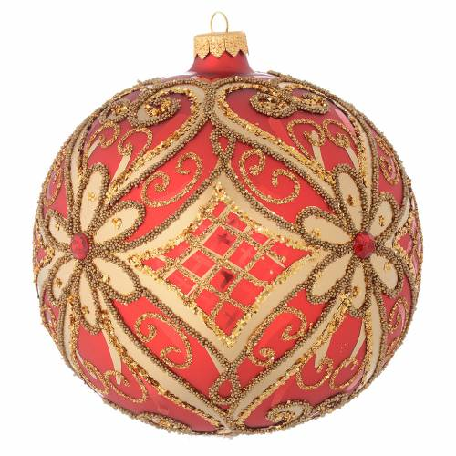 Christmas bauble in red blown glass with decorations in relief 150mm s2