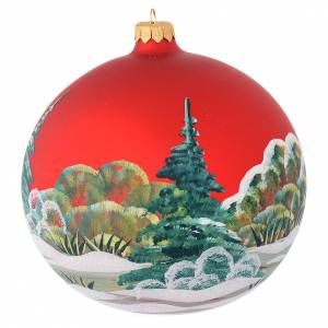 Christmas bauble in red blown glass with decoupage snowman 150mm s2