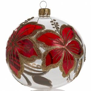 Christmas bauble, transparent and red with flowers, 10cm s1