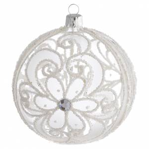 Christmas Bauble transparent and white 10cm s1