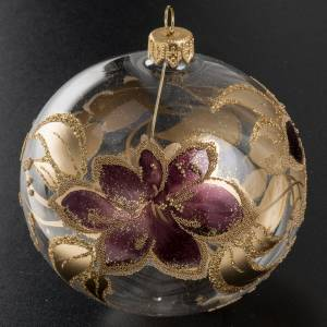 Christmas bauble, transparent glass and purple flower 10cm s2