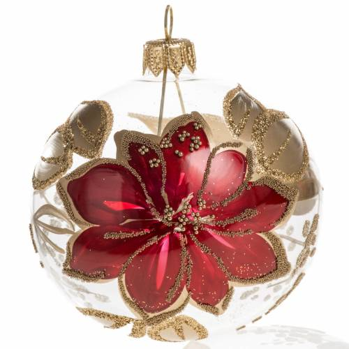 Christmas bauble, transparent glass with red flowers with glitte s1
