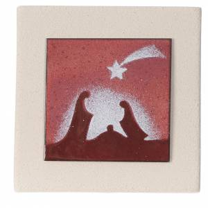 Stylized Nativity scene: Christmas scene in red, Centro Ceramiche Ave 10cm