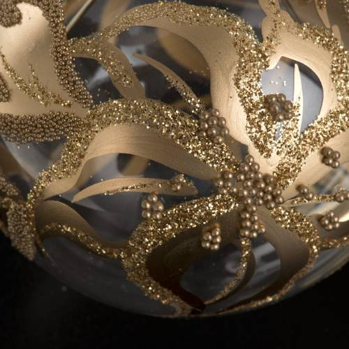 Christmas tree bauble, blown glass golden decorations 10cm s3