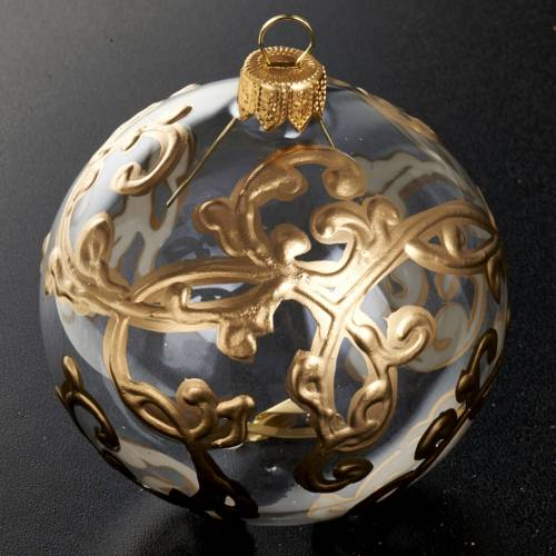 Christmas tree bauble glass with golden decorations, 8cm s2