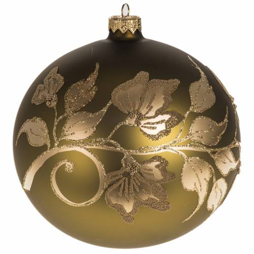 Christmas tree bauble, gold painted glass 15cm s1