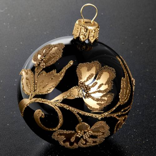 Christmas tree bauble in blown glass, black and gold 6cm s2