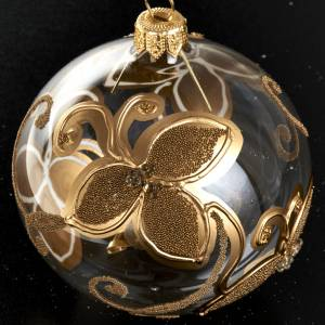 Christmas tree bauble in glass with gold flower 8cm s2