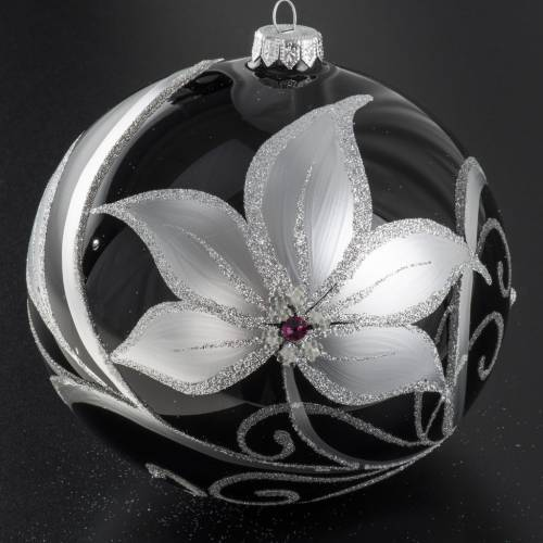 Christmas tree baubles glass black silver flowers, 15cm s2