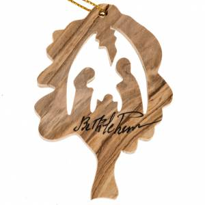 Christmas tree decoration, Nativity oak in olive wood Holy Land s1