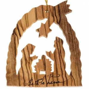 Christmas tree ornaments in wood and pvc: Christmas tree ornament Holy Land olive wood Nativity crib