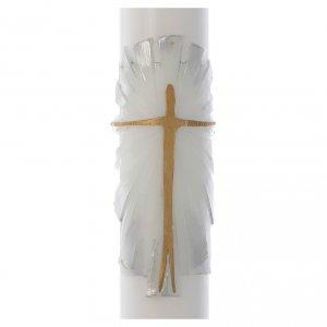 Cierge Pascal cire blanche Christ Ressuscité fond blanc argent 8x120cm s2