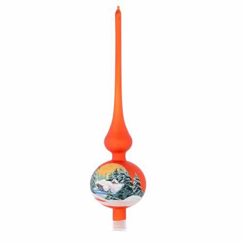 Cimier sapin verre orange paysage découpage s1