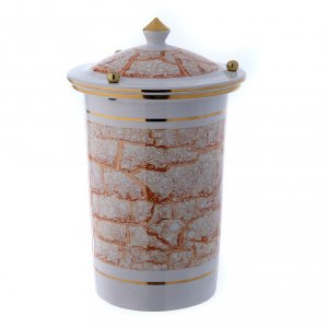 Cinerary urn in ceramic with pommels, white and gold s1