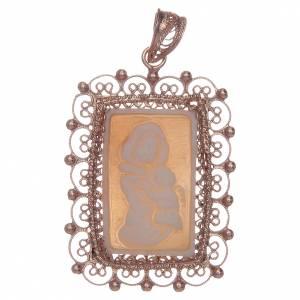 Pendenti, croci, spille, catenelle: Ciondolo filigrana argento 800 Madonna bambino con cammeo