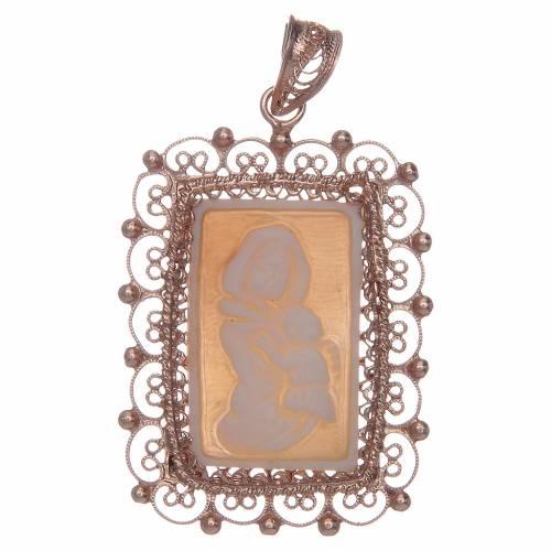 Ciondolo filigrana argento 800 Madonna bambino con cammeo s1
