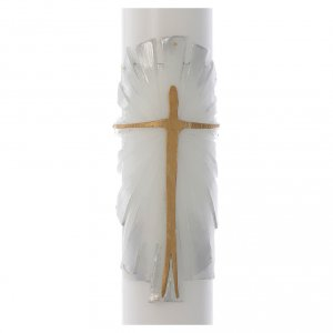 Cirio Pascual cera blanca Jesucristo Resucitado fundo blanco plata 8x120 cm s2