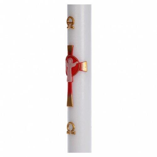 Cirio Pascual cera blanca Jesucristo Resucitado rojo 8x120 cm s4