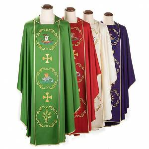 Chasubles: Clergy chasuble in 100% wool, boat & fish and chalice