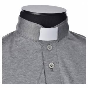 Clergy polo shirt short sleeves light grey lisle thread s4