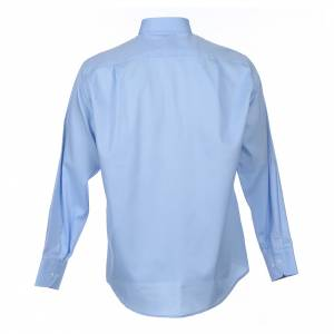 Clergy Shirts: Clergy shirt Long sleeves easy-iron mixed cotton Light Blue
