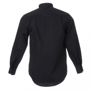 Clergy Shirts: Clergy shirt, roman collar, long sleeves, mixed cotton black