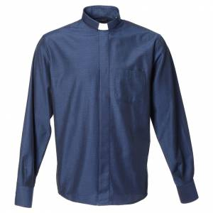 Clergy Shirts: Clergy shirt with long sleeves in blue cotton and polyester